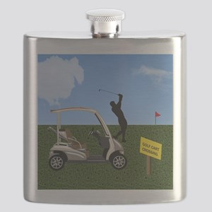 Golf Cart on Grass Crossing Warning Flask