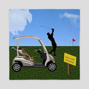 Golf Cart on Grass Crossing Warning Queen Duvet