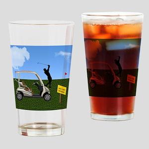 Golf Cart on Grass Crossing Warning Drinking Glass
