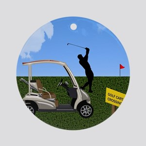 Golf Cart on Grass Crossing Warning Round Ornament
