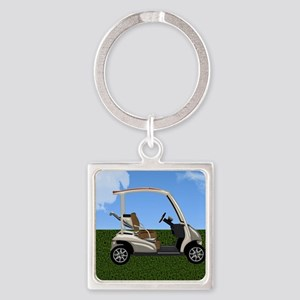 Golf Cart on Grass Square Keychain