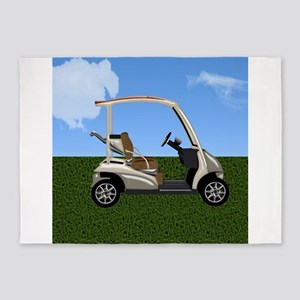 Golf Cart on Grass 5'x7'Area Rug