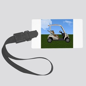 Golf Cart on Grass Large Luggage Tag
