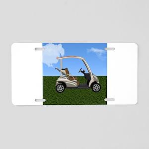 Golf Cart on Grass Aluminum License Plate