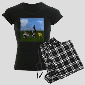 Golf Cart on Grass Crossing Women's Dark Pajamas
