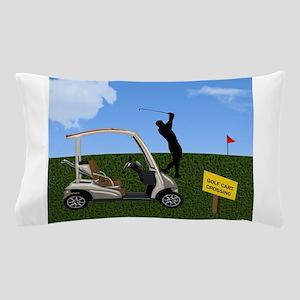 Golf Cart on Grass Crossing Warning Pillow Case
