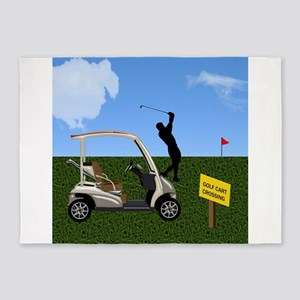 Golf Cart on Grass Crossing Warning 5'x7'Area Rug