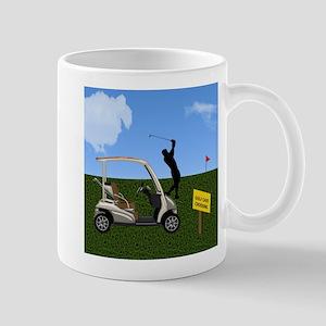 Golf Cart on Grass Crossing Warning Mugs