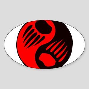 Bear Claw Yin Yang Oval Sticker