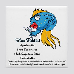 Blue Fishtini Tile Coaster