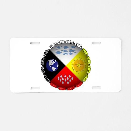 Medicine Wheel Aluminum License Plate