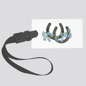 Forget me not horseshoes Large Luggage Tag