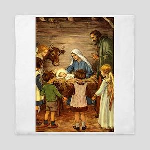 Vintage Christmas Nativity Queen Duvet