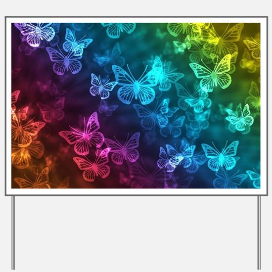 butterfly rainbow Yard Sign
