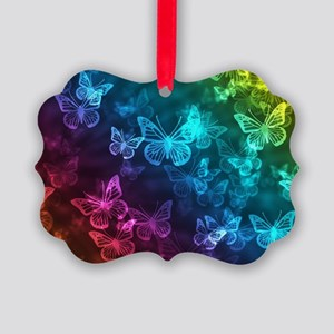 butterfly rainbow Picture Ornament