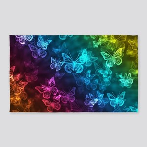 butterfly rainbow Area Rug