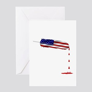 Eagle Feather Flag Greeting Cards