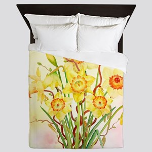 Watercolor Daffodils Yellow Spring Flo Queen Duvet