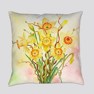 Watercolor Daffodils Yellow Spring Everyday Pillow