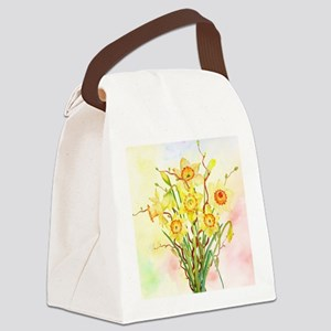 Watercolor Daffodils Yellow Sprin Canvas Lunch Bag