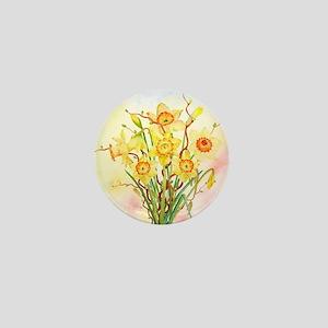 Watercolor Daffodils Yellow Spring Flo Mini Button