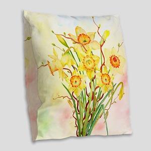 Watercolor Daffodils Yellow Sp Burlap Throw Pillow