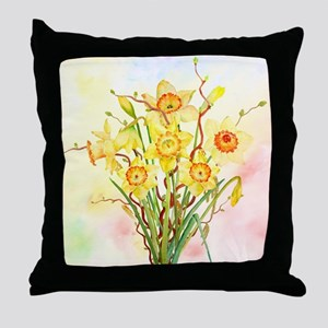 Watercolor Daffodils Yellow Spring Fl Throw Pillow