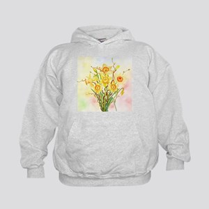 Watercolor Daffodils Yellow Spring Flo Kids Hoodie