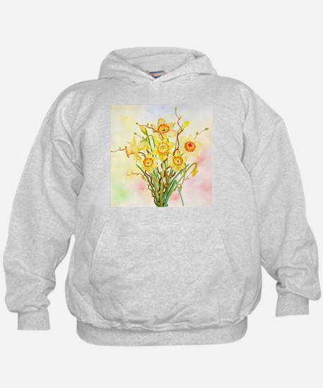 Watercolor Daffodils Yellow Spring Flo Hoodie