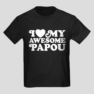 I Love My Awesome Papou Kids Dark T-Shirt
