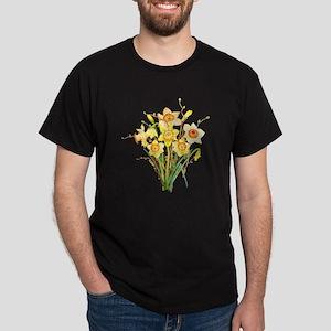 Watercolor Daffodils Spring Flowers  Dark T-Shirt