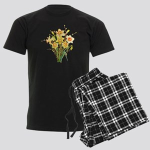 Watercolor Daffodils Spring Fl Men's Dark Pajamas