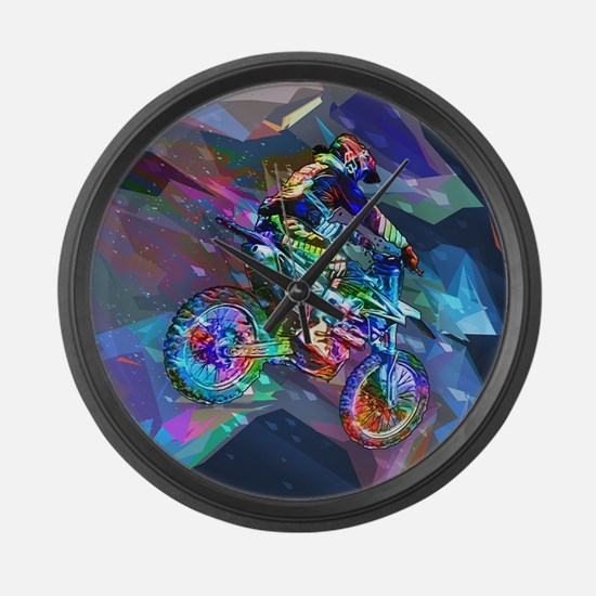 Super Crayon Colored Dirt Bike Ca Large Wall Clock