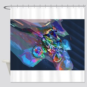 Super Crayon Colored Dirt Bike Care Shower Curtain