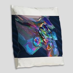Super Crayon Colored Dirt Bike Burlap Throw Pillow