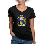 Gell Family Crest Women's V-Neck Dark T-Shirt