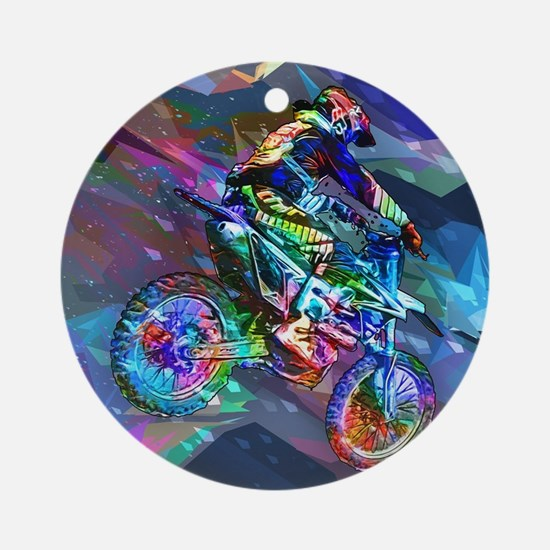 Super Crayon Colored Dirt Bike Care Round Ornament