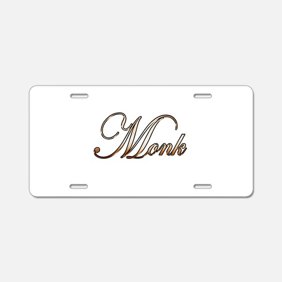 Gold Monk Aluminum License Plate