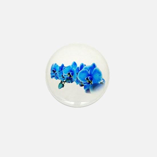 Ice blue orchids Mini Button