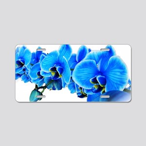 Ice blue orchids Aluminum License Plate