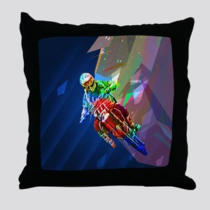 Super Crayon Colored Dirt Bike Leanin Throw Pillow