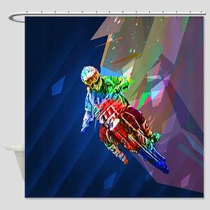 Super Crayon Colored Dirt Bike Lean Shower Curtain