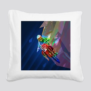 Super Crayon Colored Dirt Bik Square Canvas Pillow
