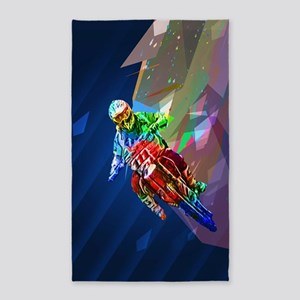 Super Crayon Colored Dirt Bike Leaning In Area Rug