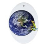 Earth Frog Ornament (Oval)