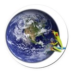 Earth Frog Round Car Magnet