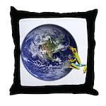 Earth Frog Throw Pillow