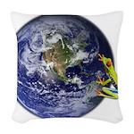 Earth Frog Woven Throw Pillow