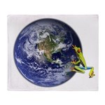 Earth Frog Throw Blanket