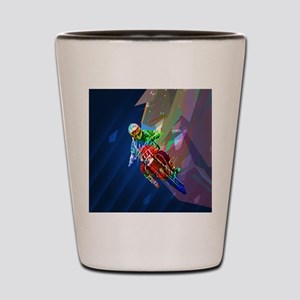 Super Crayon Colored Dirt Bike Leaning Shot Glass